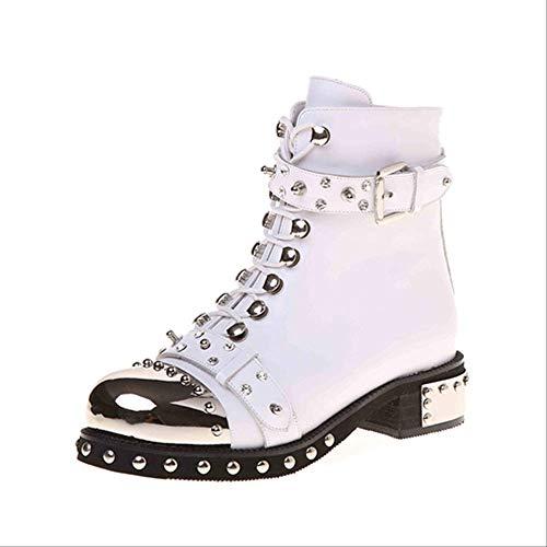 ACWTCHY Nieten Damen Stiefeletten aus echtem Leder mit dickem Absatz Damen Schnürschuhe Plateauschuhe Stiefel 6,5 weiße Schuhe