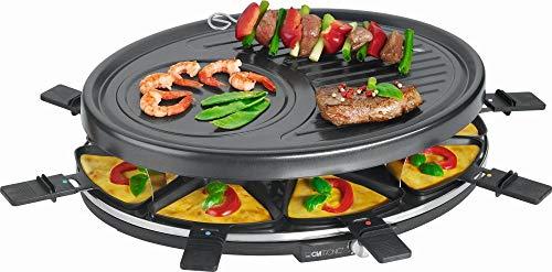 Raclette Grill 8 personen grillplaat tafelgrill elektrische grill grillplaat ovaal (8 pannetjes, 1400 watt, anti-aanbaklaag, Party Grill, Crèpe Maker)
