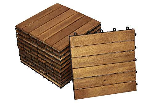 SAM Terrassen- Klickfliesen 01, Akazienholz geölt, 99 Fliesen für 9m², 30x30cm, Garten Bodenbelag, Drainage
