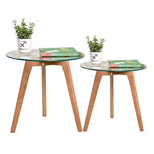 DGHJK Muebles de Mesa de café, mesas Nido,Mesas de Cristal Templado de café Mesas Laterales Sofá Tabla Lateral de la Sala Balcón doméstica y de Oficina