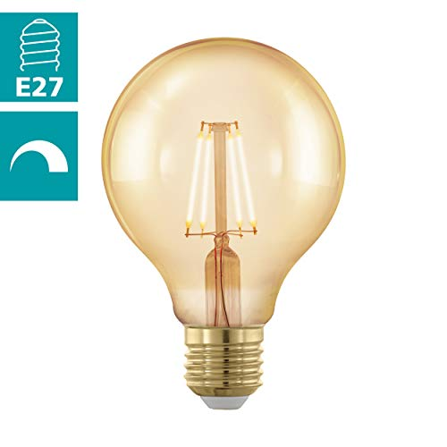 EGLO LED E27 dimmbar, Golden Vintage Glühbirne, LED Globe für Retro Beleuchtung, 4 Watt (entspricht 30 Watt), 320 Lumen, E27 LED warmweiß, 1700 Kelvin, LED Leuchtmittel, Edison Glühbirne G80, Ø 8 cm