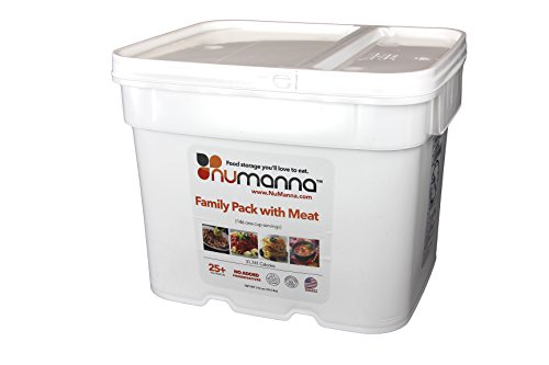 NuManna Family Pack w/ Meat 146 Servings, Emergency Survival Food Storage Kit, Separate Rations, in a Bucket, 25 Plus Year Shelf Life, GMO-Free