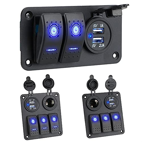 LESANGBAIHUODIAN Ajuste para el panel de interruptores de automóviles de barco a prueba de agua 2/3 GANG 12 ~ Control de circuito de 24V Voltímetro digital Voltímetro digital DUAL USB PORT OUTLET COMB