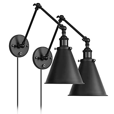 Industrial Black Wall Light Plug in Adjustable Arm with On/Off Switch for Bedroom Wall Sconce Fixture Metal Plug-In Wall Lamp Set of 2
