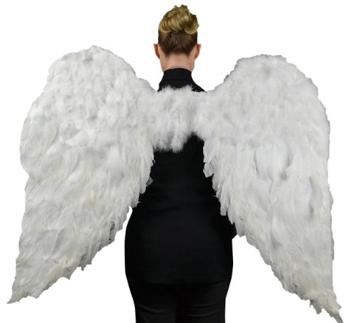 Touch of Nature White Adult Angel Wings - 52 by 36 - Halo Included - White Feather Wing - Costume Wings - Large Angel Wings