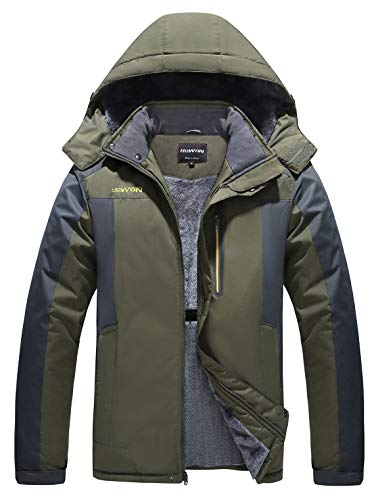HOW'ON Men's Mountain Waterproof Fleece Ski Jacket Windproof Rain Jacket Army Green L