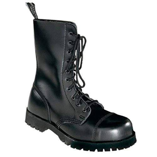 Boots & Braces Bottes rangers avec lacets 10 trous, Noir - Noir - Noir, 41 EU / 7 UK EU