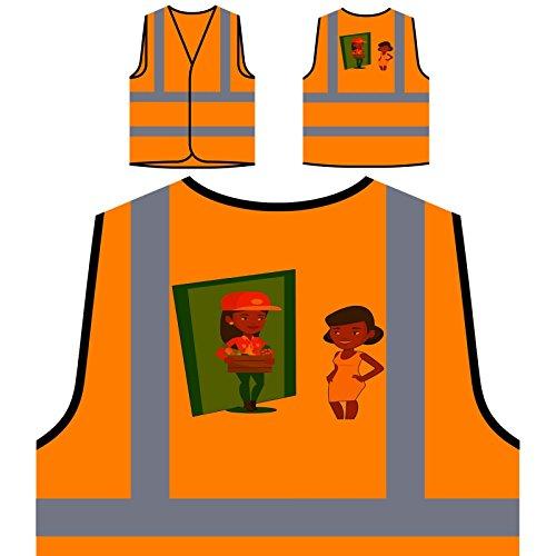 Livraison De Fruits Et Légumes Veste de Protection Orange personnalisée à Haute visibilité q516vo
