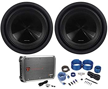 Rockville RWK41 4 Gauge Complete Car Amp Wiring Installation Wire Kit with RCA s Bundle with RXD-M2 Car Audio Amp and Alpine SWT-10S2 10  1000W Peak/350W RMS Shallow Slim Truck Car Subwoofer