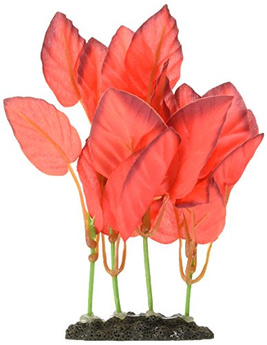 Marina Naturals, Red Foreground Silk Plant, Small Fish Tank Decoration, PP117