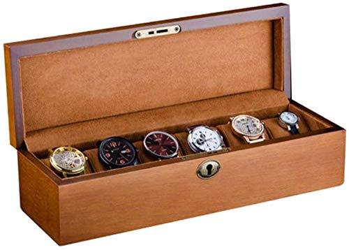 Abschließbarer 6-teiliger Organizer für Uhrenanzeigen, handgefertigtes Vintage-Design aus Massivholz, säurefreies Samttuch von hoher Qualität