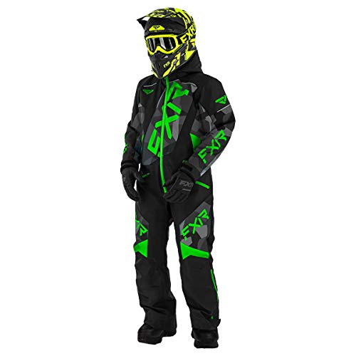 FXR Youth CX Monosuit F.A.S.T. Insulated Fleece Lined Pockets Warm Durable Shell - Black/Ocean/Lilac - 16