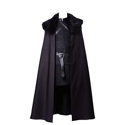 Uomo Jon Snow Cosplay Costume Halloween Carnival Capo Medievale del Cavaliere Set Completo, S