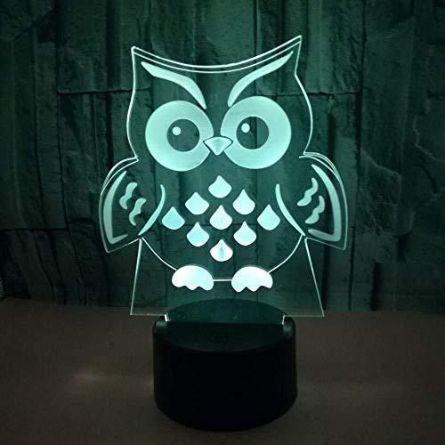 Búho de luz nocturna 3D Espiritualidad de luz nocturna LED 3D, con luz de 7 colores, utilizada para la decoración del hogar, luz, visualización increíble, lámpara de mesa óptica