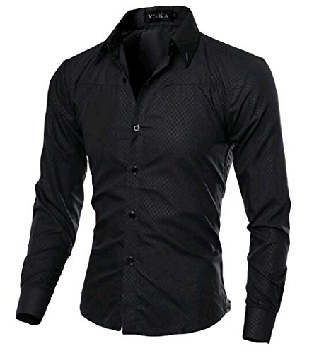 Camisa polo masculina VITryst-Men Simples Simples Vogue Down Turn Respirável Gola polo, Preto, Large