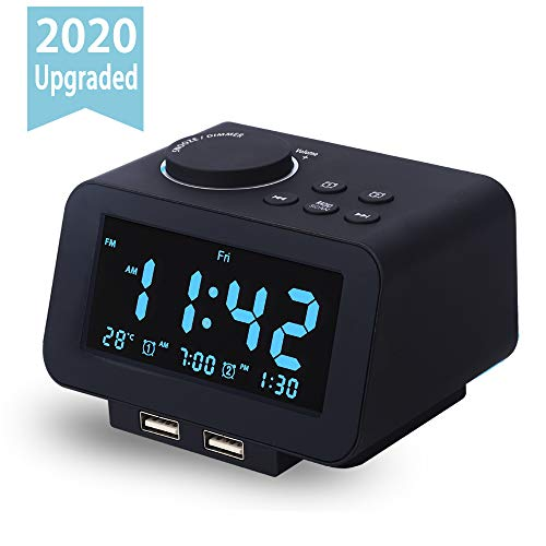 【Upgraded】 Digital Alarm Clock, FM Radio, Dual USB Charging Ports, Temperature Detect, Dual Alarms with 7 Alarm Sounds, Snooze, 6-Level Brightness Dimmer, Batteries Operated, for Bedroom, Sleep Timer