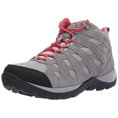 Columbia REDMOND V2 MID, Scarponcini da hiking impermeabili, Donna, Grigio/Rosso (Steam, Daredevil), 36 EU