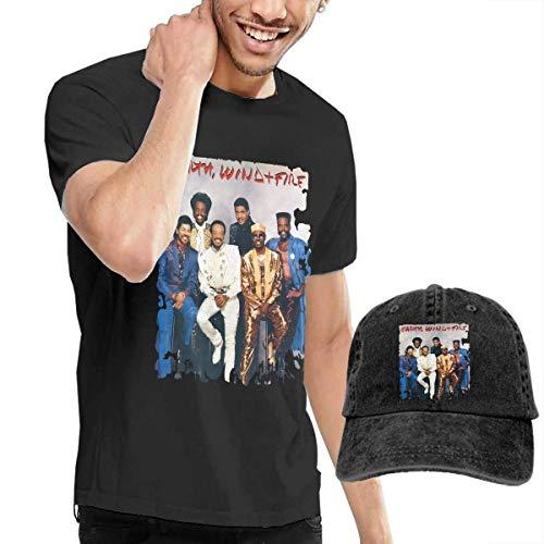 SOTTK Kurzarmshirt Herren, Earth Wind & Fire T Shirts Men's Cotton Short Sleeve T-Shirt with Baseball Cap