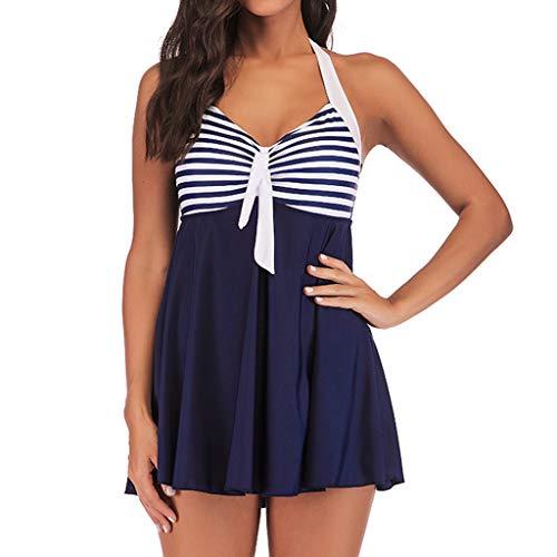 LOOKAA Striped Tankini Swimjupmsuit Women Padded Swimwear skit Dress Beachwear Swimsuit Dark Blue