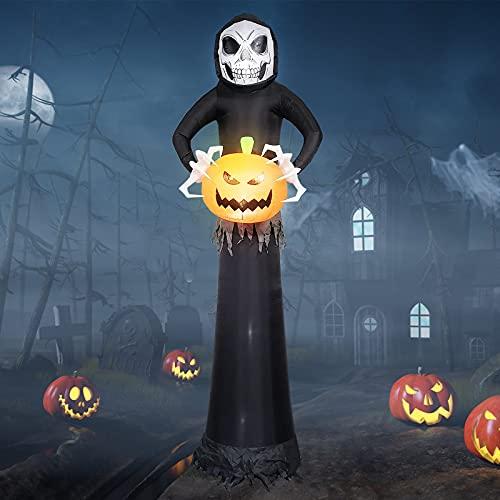 8.8Ft Halloween Dmuchane Duchy ze światłami LED, EBANKU Halloween Sickle Ghost Dynia Ponury Żniwiarz Nadmuchiwane Wystrój na Zewnątrz Wewnętrzny Ogród Ogród Dekoracje na Halloween