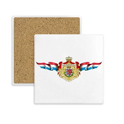 DIYthinker Luxemburg Flagge National Emblem Quadrat Coaster-Schalen-Becher-Halter Absorbent Stein für Getränke 2ST Geschenk Mehrfarbig