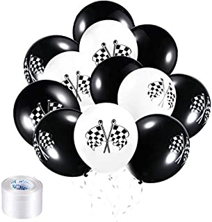 Chengu 50 Pieces Checkered Racing Car Balloons Flag Latex Balloons with 8 Rolls Plastic Ribbons for Racing Theme Party Decorations