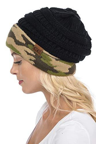 C.C Trendy Warm Chunky Soft Stretch Cable Knit Beanie Skully, Camo/Black
