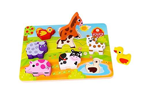 Andreu Toys- Tooky Toy Chunky Puzzle-Farm Block, Multicolor, 29.5 x 21 x 1.7 cm (Toys Service S.L. TKC479)