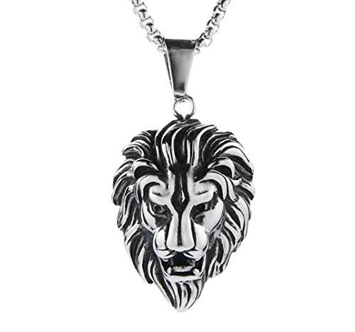 Naswi Hip Hop Lion Head Pendant Necklace for Men Luxury Gold Silver Plated Long Necklaces Jewelry Friendship Gifts