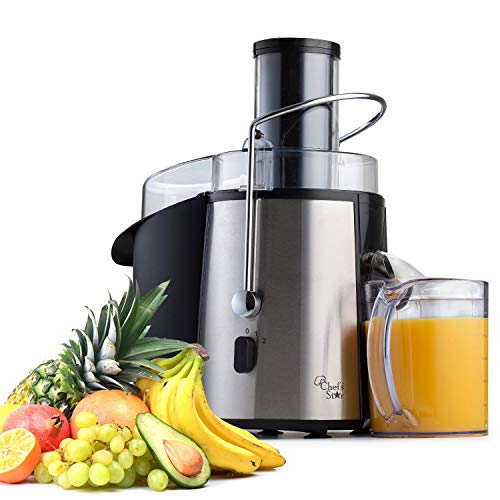 Chefs Star Juicer Wide Mouth Fruit & Vegetable Juice Extractor - Stainless Steel