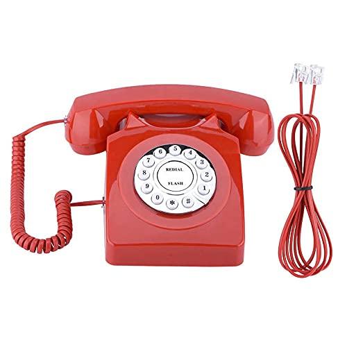 ZHPBHD Teléfono Teléfono Retro Botón Dial Desktop Wired Teléfono Línea Antigua Vintage Números de teléfono Almacenamiento Clear Sound para Home Office Hotel (Color : Red)