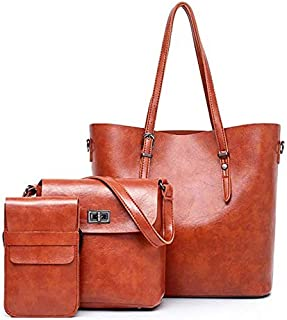 TOOGOO Crossbody Bags for Women Bag Shoulder Leather 3 Pieces Set Solid Soft Handbag Tote Bag Bolsa,Brown