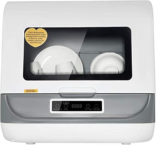 Lavavajillas de encimera portátil, 5 en 1 multifuncional con función automática de secado al aire, 3 programa de lavado para cocina casera Lavadora plato fruta bebé cuidado