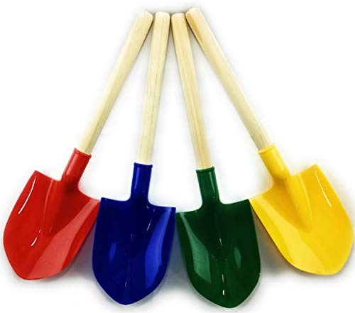 Matty's Toy Stop 16.5' Wooden Mini Sand Shovels for Kids with Plastic Spade (Red, Blue, Green & Yellow) Complete Gift Set Party Bundle - 4 Pack