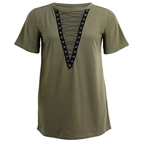 Vrouwen Lace Up Mini Dress Hollow Out Plunge V-hals met korte mouwen zomerjurk 2020 Plus Size Casual T-shirt Dress