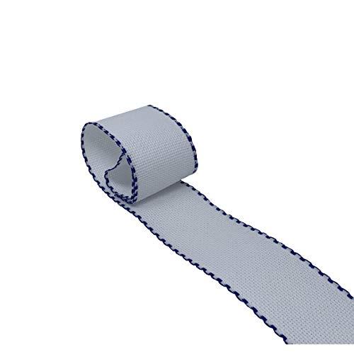 Cinta de tela Aida para Punto de Cruz | Entredós para bordar de 14 ct | 100% algodón | Para personalizar toallas o bolsas de tela | 50mm ancho | 3 metros | de DELICATELA (Blanco - Marino)