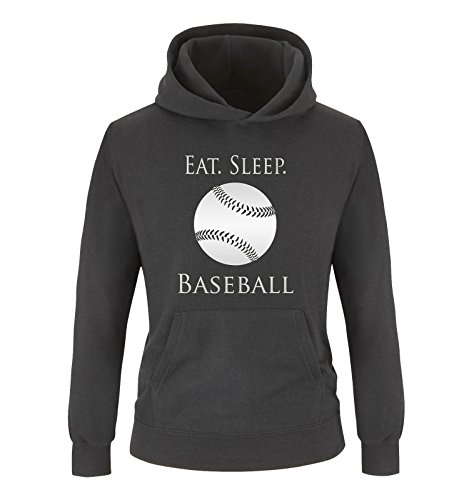 Comedy Shirts - EAT. Sleep. Baseball - Ball - Jungen Hoodie - Schwarz/Silber Gr. 152/164