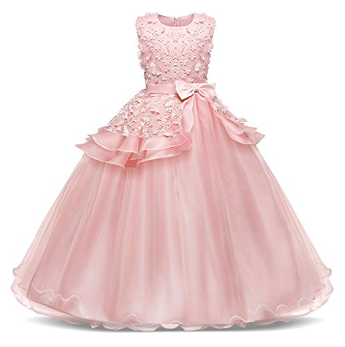 AmzBarley bloemenmeisjesjurk kant, lange kinderen, prinsesjurk, feest, huwelijk, ceremonie, formele bruidsmeisje, verjaardag, aankleding, avondjurk, maxi-jurk, kostuumkleding, kleding