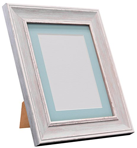 Frames By Post Scandi Vintage fotolijst Blauwe passe-partout 30 x 40 cm Image Size 12 x 8 Inches Distressed Blue