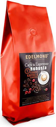 Edelmond Robusta Kaffee, eine private Trommel - Langzeitröstung für beste Röstaromen. Säurearm für Espresso oder Café Creme - (1000g)