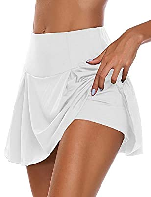 HDLUSIA Women's Active Skort Athletic Stretchy Pleated Tennis Skirt for Running Golf Workout White