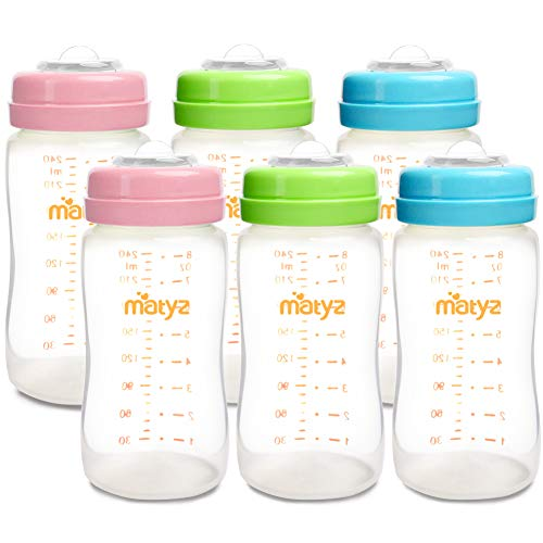 Matyz 6-Pack Breast Milk Storage Bottles (8 Ounce, 3 Colors) - Wide Neck Breastmilk Collection and Storage Bottle - Formula Storage Bottles Compatible with Medela Avent Spectra Pumps