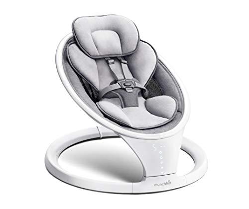 Munchkin Bluetooth-fähige, leichte Babywippe/Babyschaukel mit natürlicher Schaukelbewegung in 5 Geschwindigkeiten, mit Fernbedienung, grau, 4.1 kg