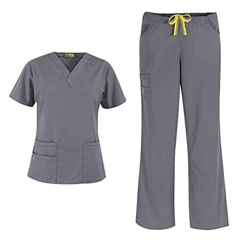 WonderWink Origins Women's 6016 Bravo Top & Romeo Pant 5026 Medical Uniform Scrub Set (Pewter - Large/Large)