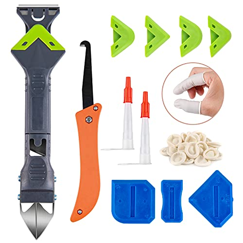 Upgraded 5 in 1 Caulking Tool (Stainless Steel Head), Reecola Silicone Sealant Finishing Tool Caulk Scrapper Great for Kitchen Bathroom Window Sink Joint (Nozzle Applicators & 20 Finger Cots included)