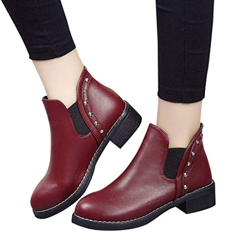 Sonnena Bota Corta Casual - Zapatos Planos de Mujer Remaches Casual Boots Botines de Cuero con Punta Redonda