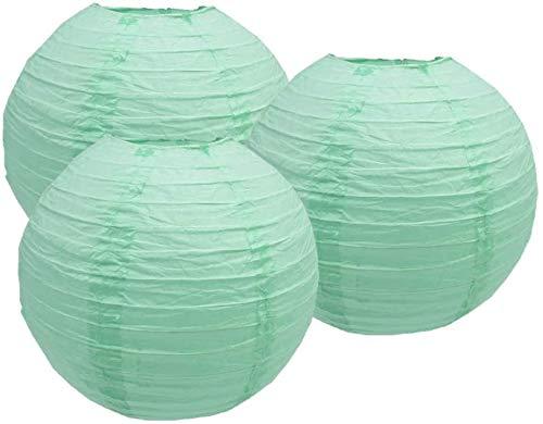 4'6'8'10'12'14'16'18 Round Paper Lanterns Lamp Wedding Birthday Party Decoration Pack of 3 (Mint Green, 10'/25CM)