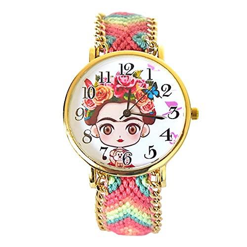 BLACK MAMUT Reloj Analógico De Pulsera para Mujer Con Dibujo Animado de Frida Kahlo, Casual, Moderno, Estilo Etnico, Rosa, Multicolor, Correa de Tela Trenzada, Ajustable