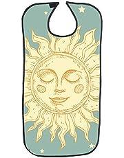 Baberos para adultos con respaldo de PVC impermeable, baberos para adultos adultos adultos con diseño de estrellas y sol con cierre a presión