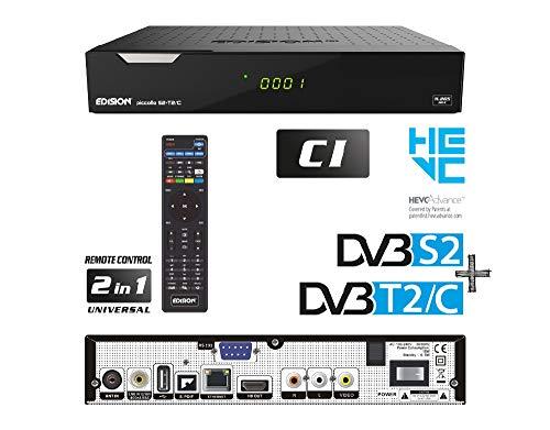 Edision PICCOLLO S2+T2/C Combo Receiver H.265/HEVC (DVB-S2, DVB-T2, DVB-C,) CI Full HD USB schwarz